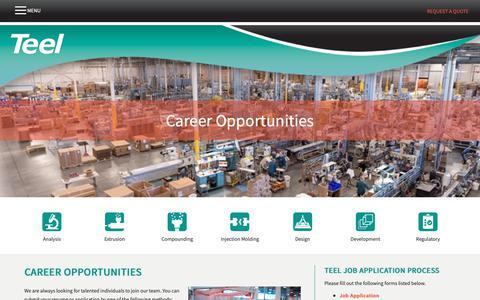 Screenshot of Jobs Page teel.com - Career Opportunities     Teel Plastics - captured Oct. 20, 2018