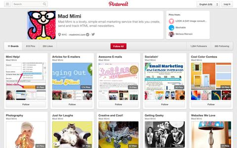 Screenshot of Pinterest Page pinterest.com - Mad Mimi on Pinterest - captured Oct. 22, 2014