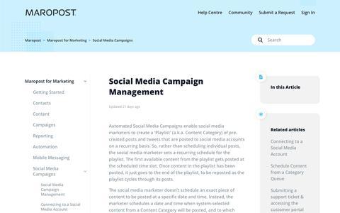 Screenshot of Support Page maropost.com - Social Media Campaign Management – Maropost - captured July 1, 2019