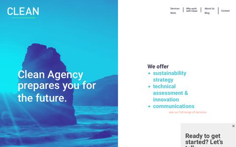 Screenshot of Home Page cleanagency.com - Clean Agency - Sustainability Consulting firm based in Los Angeles - captured July 18, 2018