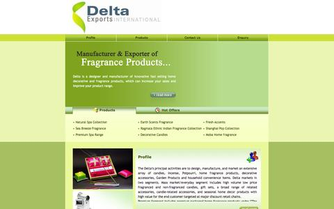 Screenshot of Home Page deltaexports.com - Natural Spa Range,Premium Spa Range,Sea Breeze Fragrance,Earth Scents Fragrance,India - captured Oct. 5, 2014