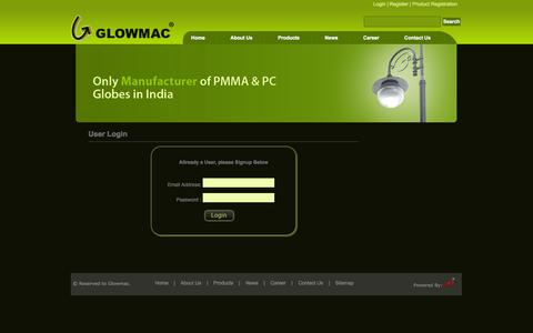 Screenshot of Login Page glowmac.com - Garden Light Manufacturer India | Garden Lights India - captured Oct. 2, 2014