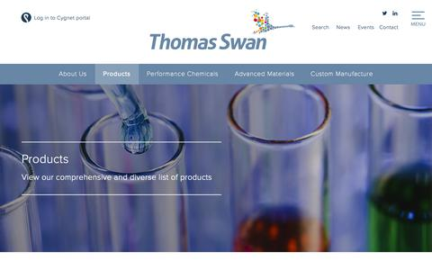 Screenshot of Products Page thomas-swan.co.uk - Products | Thomas Swan | Global Chemical Manufacturing - captured Oct. 21, 2018
