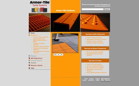 Screenshot of Products Page armor-tile.com - Armor Tile - ADA Truncated Domes - Products - captured Oct. 5, 2014