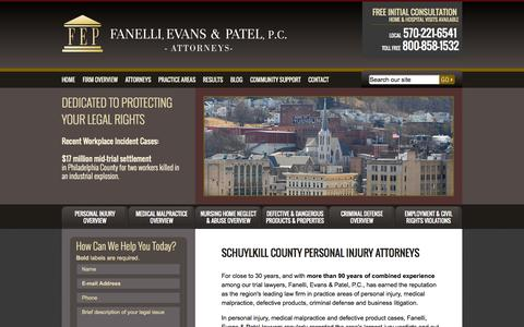 Screenshot of Home Page feplawyers.com - Pottsville PA Personal Injury Attorney | Medical Malpractice and Nursing Home Negligence in Schuylkill/Berks County - captured Oct. 5, 2014