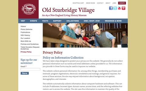 Screenshot of Privacy Page osv.org - Privacy Policy   Old Sturbridge Village - captured Sept. 19, 2014