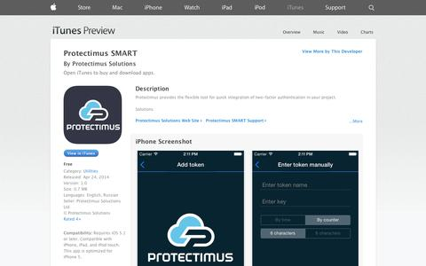 Screenshot of iOS App Page apple.com - Protectimus SMART on the App Store on iTunes - captured Oct. 23, 2014