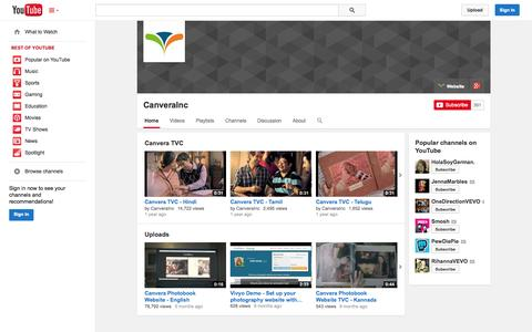Screenshot of YouTube Page youtube.com - CanveraInc  - YouTube - captured Oct. 22, 2014