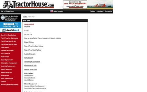 Screenshot of Site Map Page tractorhouse.com - TractorHouse.com   Site Map - captured Aug. 22, 2016