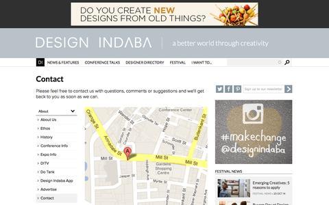 Screenshot of Contact Page designindaba.com - Contact | Design Indaba - captured Oct. 23, 2014