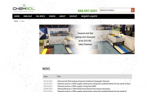 Screenshot of Press Page chemsol.com - News - Chemsol - captured Sept. 29, 2018