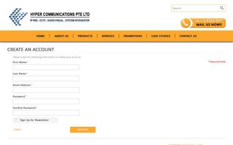 Screenshot of Signup Page hypercom.sg - Create New Customer Account - captured Feb. 2, 2016