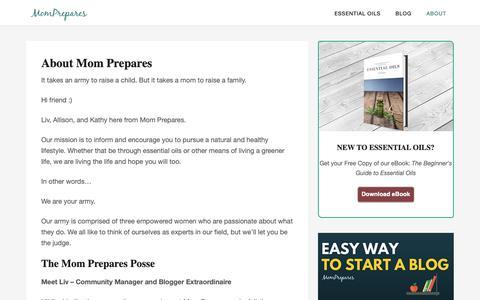 Screenshot of About Page momprepares.com - About Mom Prepares - Mom Prepares - captured Sept. 28, 2018