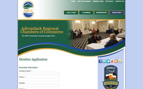 Screenshot of Signup Page adirondackchamber.org - Member - Adirondack Regional Chambers of Commerce, NY - captured Oct. 7, 2017