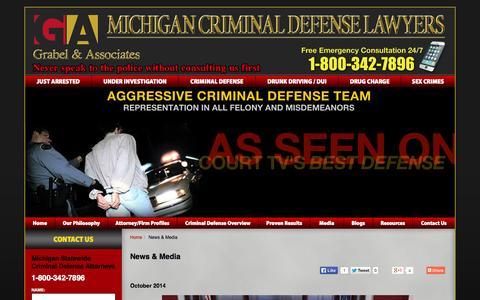 Screenshot of Press Page grabellaw.com - News & Media - Grabel & Associates - Michigan Criminal Defense Law Firm - captured Nov. 2, 2014