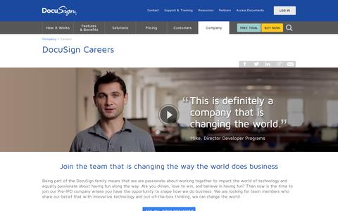 Screenshot of Jobs Page docusign.com - Careers | DocuSign - captured July 20, 2014