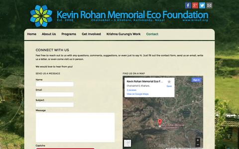 Screenshot of Contact Page krmef.org - CONTACT - KRMEF - captured Oct. 6, 2014