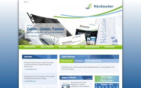Screenshot of Home Page nordzucker.de - Startseite Nordzucker AG - captured Oct. 9, 2014