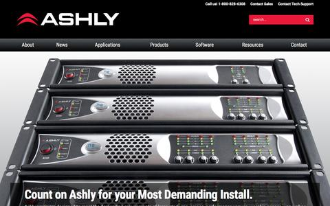 Screenshot of Home Page ashly.com - Ashly Audio | World Leader in Signal Processing & Power Amplification - captured Feb. 6, 2016