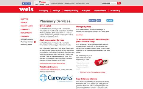 Screenshot of Services Page weismarkets.com - Pharmacy Services - captured Aug. 13, 2016