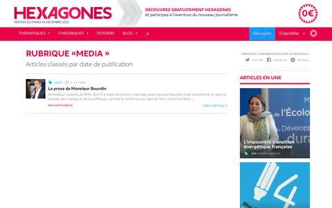 Screenshot of Press Page hexagones.fr - Media - Hexagones - Révéler la France telle qu'elle est - captured March 6, 2016
