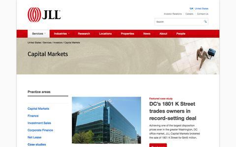 Screenshot of Case Studies Page jll.com - Capital Markets Case Studies | JLL - captured July 5, 2017