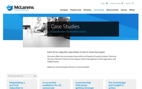 Screenshot of Case Studies Page mclarens.com - Our Global Claims Management Clients | McLarens - captured Oct. 27, 2014