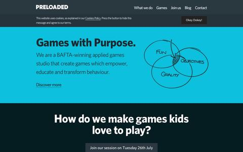Screenshot of Home Page preloaded.com - Preloaded | Games with Purpose - captured July 15, 2016