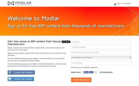 Screenshot of Signup Page modlar.com - Sign up for a Modlar account - modlar.com - captured Sept. 12, 2014