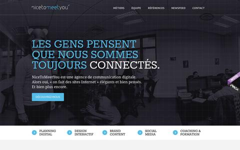 Screenshot of Home Page ntmy.fr - NiceToMeetYou, Agence de Communication Digitale | Lille & Paris - captured Sept. 22, 2014