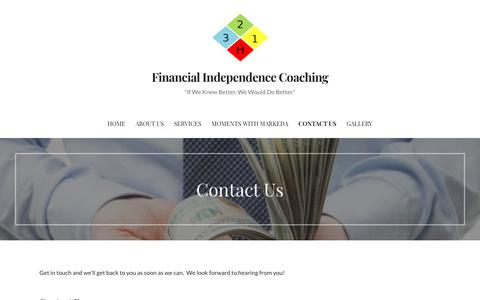 Screenshot of Contact Page ficoaching.net - Contact Us – Financial Independence Coaching - captured Nov. 6, 2018