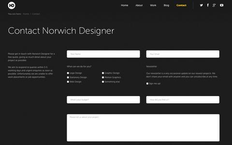 Screenshot of Contact Page norwichdesigner.com - Contact - Norwich Designer - captured Sept. 30, 2014