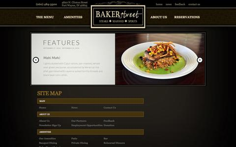 Screenshot of Site Map Page bakerstreetfortwayne.com - Site Map - captured Oct. 5, 2014