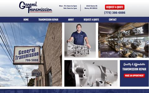 Screenshot of Home Page generaltransmissionreno.com - Reno Transmission Repair Service | General Transmission - captured Oct. 2, 2014