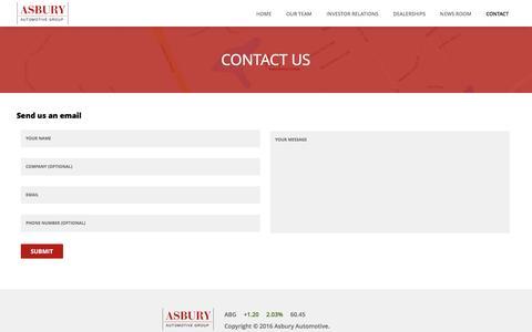 Screenshot of Contact Page asburyauto.com - Contact Us | Asbury Automotive Group - captured March 3, 2016