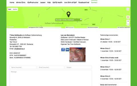 Screenshot of Contact Page teetime.nl - Contact – TeeTime Golfstudio - captured Oct. 20, 2017