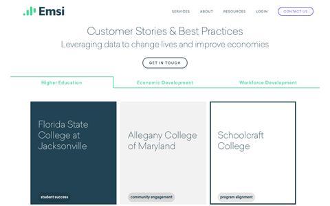 Screenshot of Case Studies Page economicmodeling.com - Case Studies - Emsi - captured Oct. 13, 2016