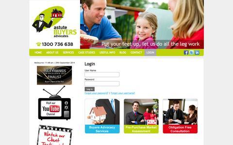 Screenshot of Login Page astutebuyersadvocates.com.au - Login - captured Sept. 30, 2014
