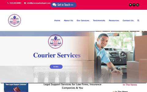 Screenshot of Home Page processpluslegal.com - Process Server Philadelphia, Legal Support, Private Skip Trace Investigator PA, NJ, Same Day Medical Couriers - captured Nov. 13, 2016