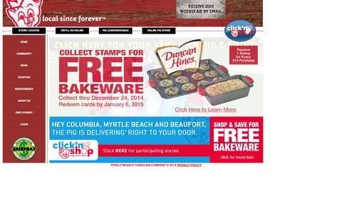 Screenshot of Home Page thepig.net - Piggly Wiggly Carolina Co. - captured Oct. 2, 2014