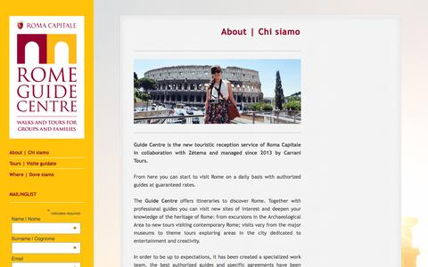 Screenshot of About Page guides.roma.it - About | Chi siamo | Rome Guide Centre - captured Jan. 24, 2016