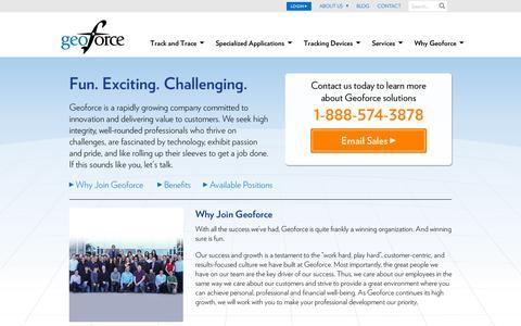 Screenshot of Jobs Page geoforce.com - Careers - captured July 18, 2014
