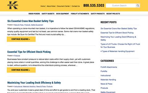 Screenshot of Blog kokeinc.com - Materials Handling Blog Covering Topics and Tips on Industrial Equipment and Warehouse Safety - captured Oct. 17, 2017