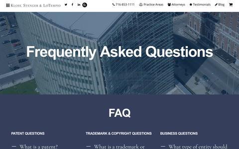 Screenshot of FAQ Page klosslaw.com - FAQ | Kloss, Stenger and LoTempio - captured Oct. 15, 2018