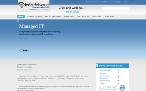 Screenshot of Testimonials Page dorksdelivered.com.au - Testimonials | Dorks Delivered - captured Sept. 30, 2014