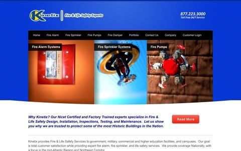 Screenshot of Home Page kinetixfire.com - Fire Alarm Systems Inspection :Kinetix Fire - captured Aug. 6, 2015