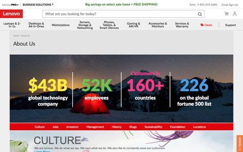Screenshot of Team Page lenovo.com - CULTURE | Lenovo US - captured July 10, 2018