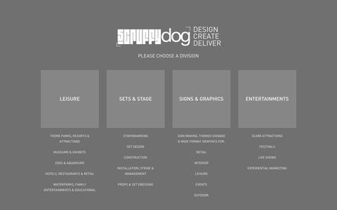 Screenshot of Home Page scruffydogltd.com - Scruffy Dog Ltd Design, Create & Deliver | Divisions - captured Nov. 17, 2016