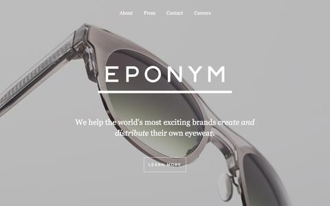 Screenshot of Home Page eponymous.co - We help brands create and distribute their own eyewear | Eponym - captured Feb. 1, 2016