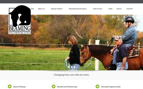 Screenshot of Home Page beaminginc.org - Beaming Inc.   Changing lives, one ride at a time.Beaming Inc.   Changing lives, one ride at a time. - captured Sept. 30, 2014
